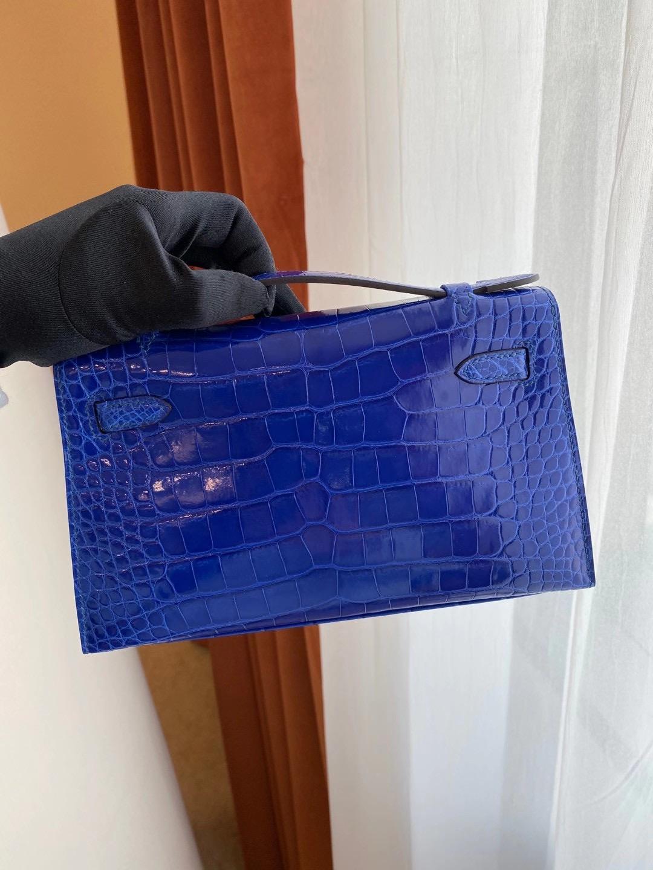 香港香港島中西區西環 Hermes Mini Kelly Pochette 7T Blue Electric 電光藍 亮面美洲鱷魚