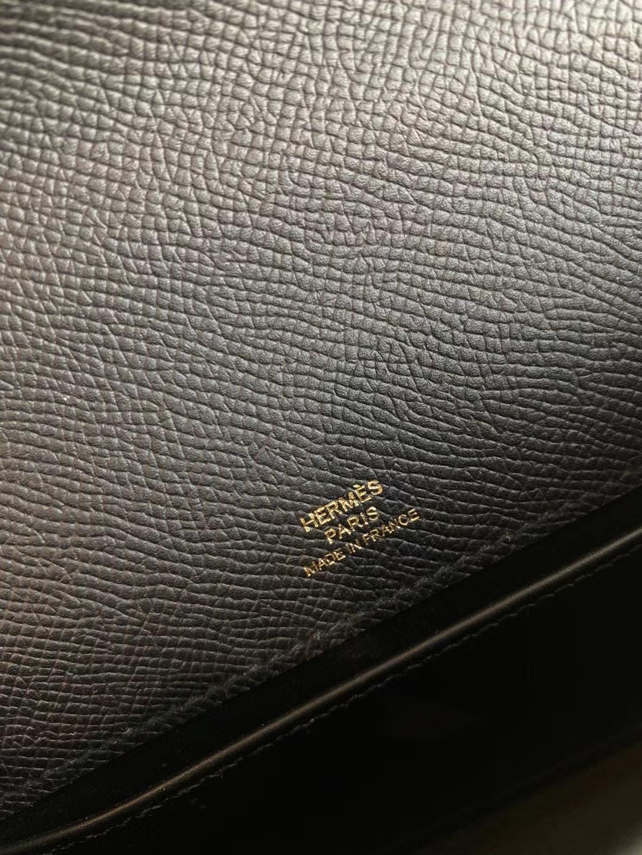 廣州愛馬仕手拿包 晚宴包 Hermes Mini Kelly Pochette Epsom CC89 Noir 黑色