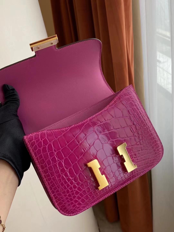 Hermes Constance 19cm J5 天方夜譚粉紫 Rose sheheraradez 亮面美洲鱷魚金扣
