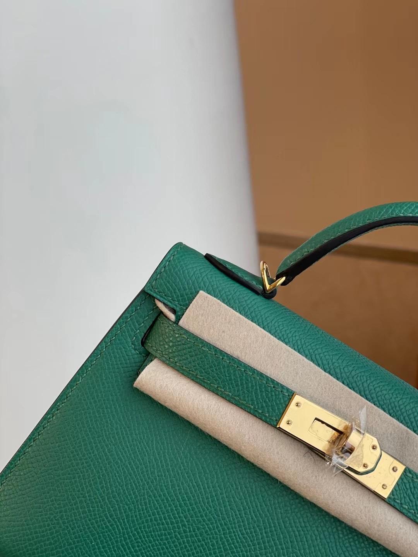 Hermes Kelly mini II 2代 Epsom U4 Vert Verigo 絲絨綠 全手工縫製 金扣