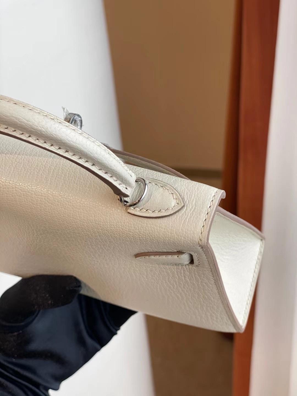 Hermes Kelly Mini II 2代 Chevre Mysore 山羊皮 CK10 Craie 奶昔白 全手工蜜蠟線縫製