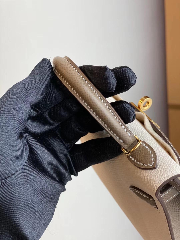 Hermes Kelly Mini II 2代 Hss Epsom 10 Craie 奶昔白 18 大象灰 Etoupe 馬蹄印 金扣