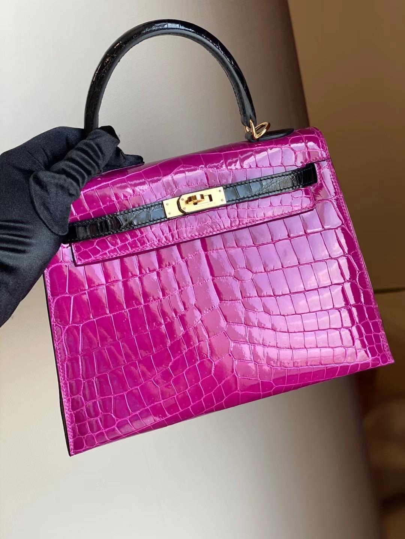 Hermes Kelly 25cm J5 天方夜譚粉紫 Rose Sheheraradez 89 Noir 黑色 尼羅鱷魚