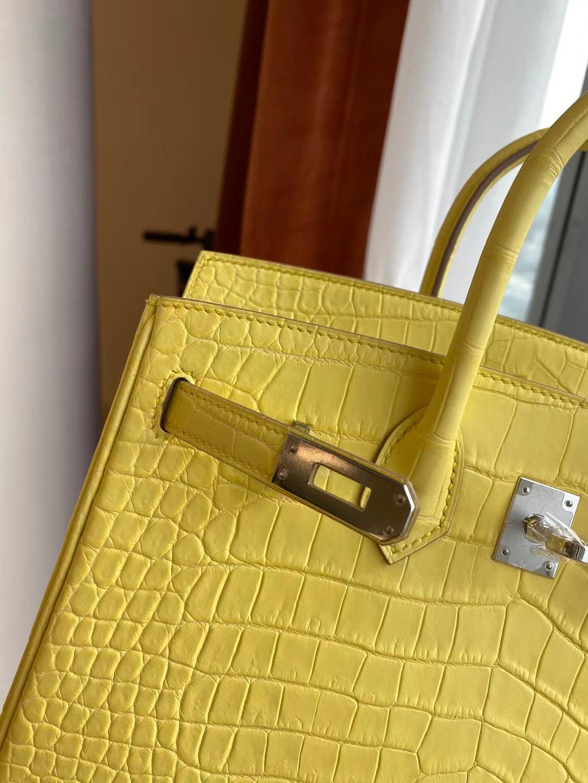 Hermes Birkin 30cm crocodile 9R lemon 檸檬黃 全手工蜜蠟線縫製銀扣