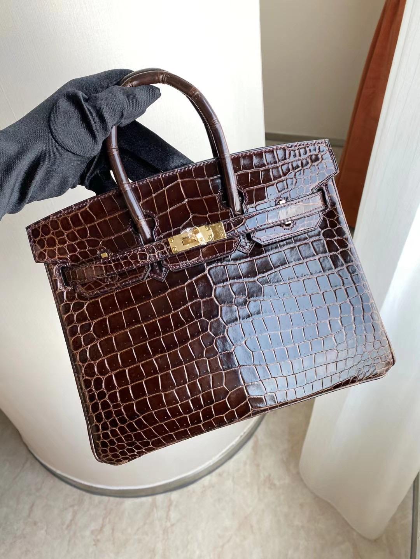 Hermes Birkin 30cm crocodile CK47 Chocolate 巧克力 全手工蜜蠟線縫製金扣