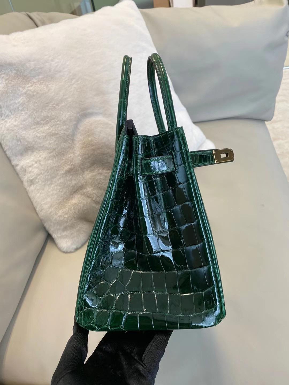 上海深圳廣州愛馬仕鉑金包 Hermes Birkin 30cm Crocodile 67 Vert Fonce 祖母綠