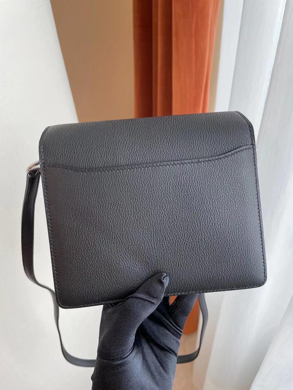 愛馬仕豬鼻子迷你專櫃價格多少錢 Hermes Roulis Mini Evercolor CK89 Noir 黑色 全手工蜜蠟線縫