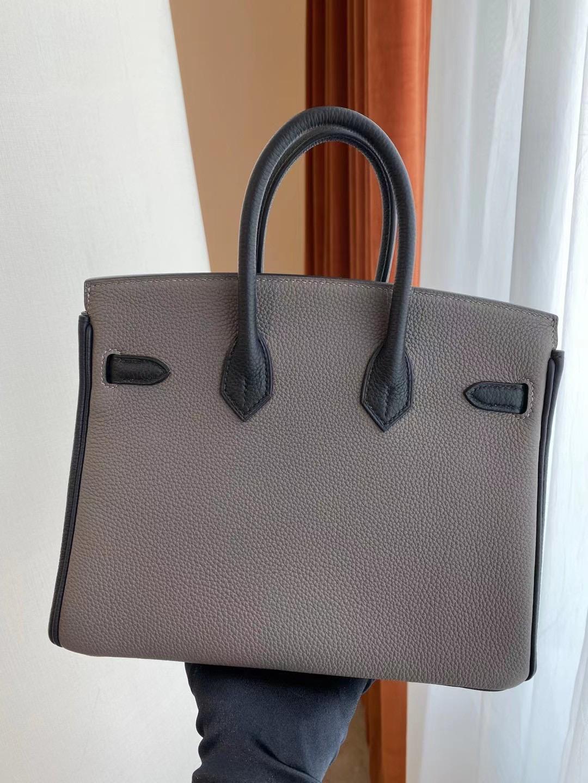 Hermes Birkin 25cm Togo Hss 8F Etain 錫器灰 拼 89 Noir 黑色 金扣 全手工蜜蠟線縫製