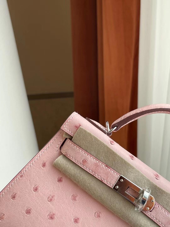 臺灣新竹市 Hermes Kelly Mini II 2代 Ostrich 3Q Rose Sakura 櫻花粉 銀扣