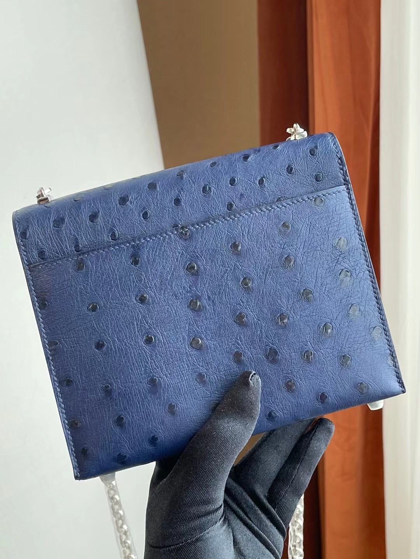 Hermes Verrou Mini Ostrich 7L Blue de 馬耳他藍 南非鴕鳥皮 全手工蜜蠟線縫 銀扣