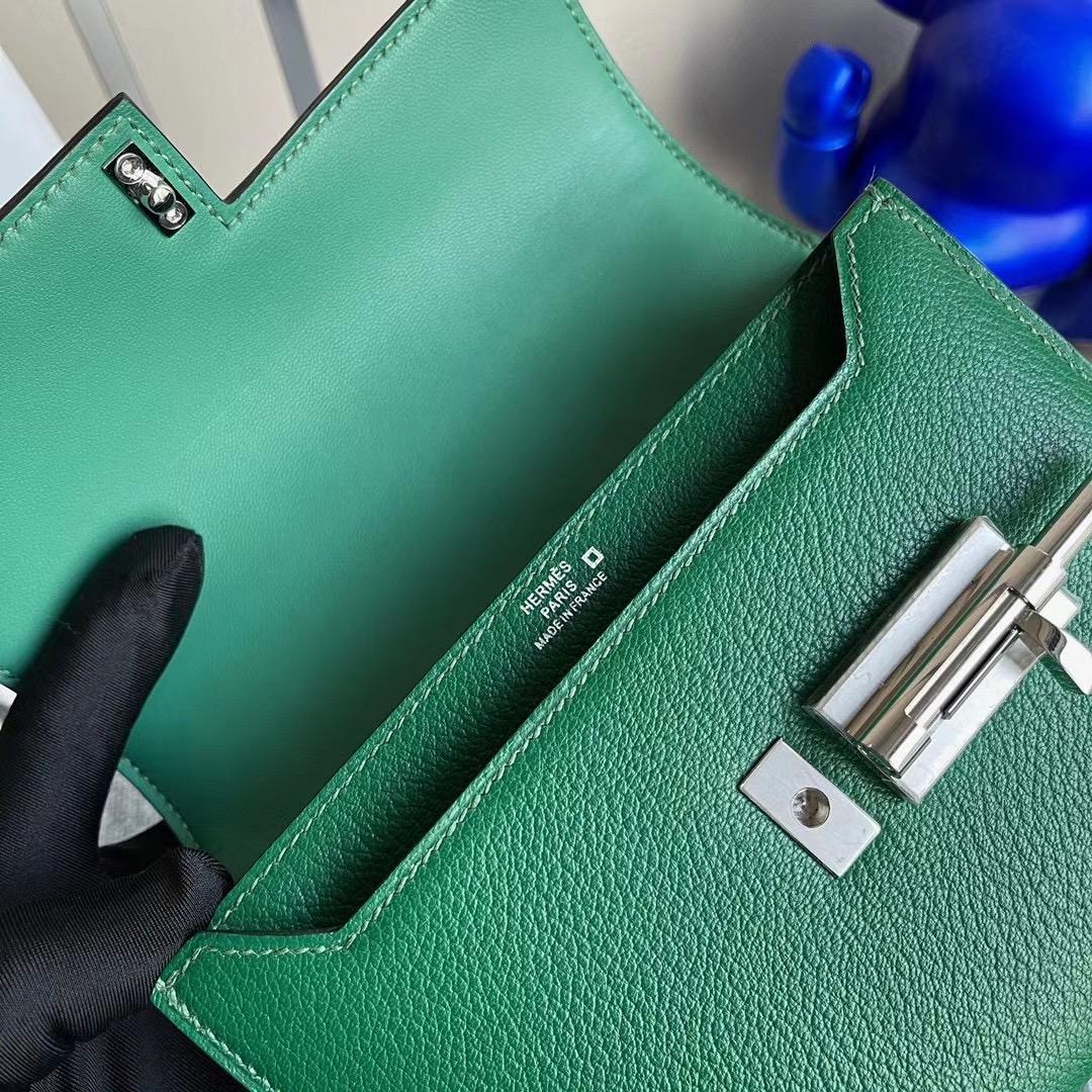 臺灣新竹市 Hermes Verrou Mini Touch 美洲鱷魚/山羊皮 1L仙人掌綠 Cactus 銀扣