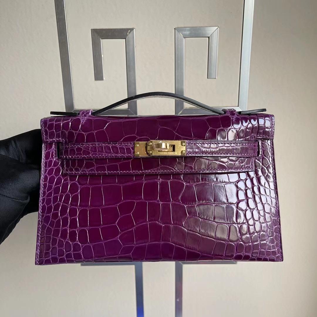 Hermes MiniKelly Pochette N5 Cassis 黑加侖 加侖紫 亮面美洲鱷魚