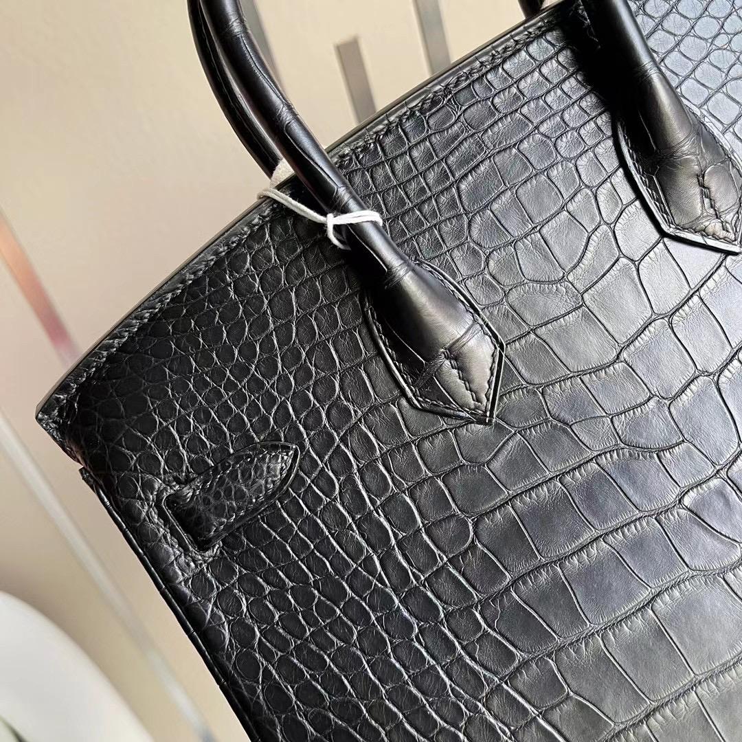 臺灣高雄市林園區鉑金包 Hermes Birkin 25cm CC89 Noir 黑色 霧面美洲鱷魚 金扣