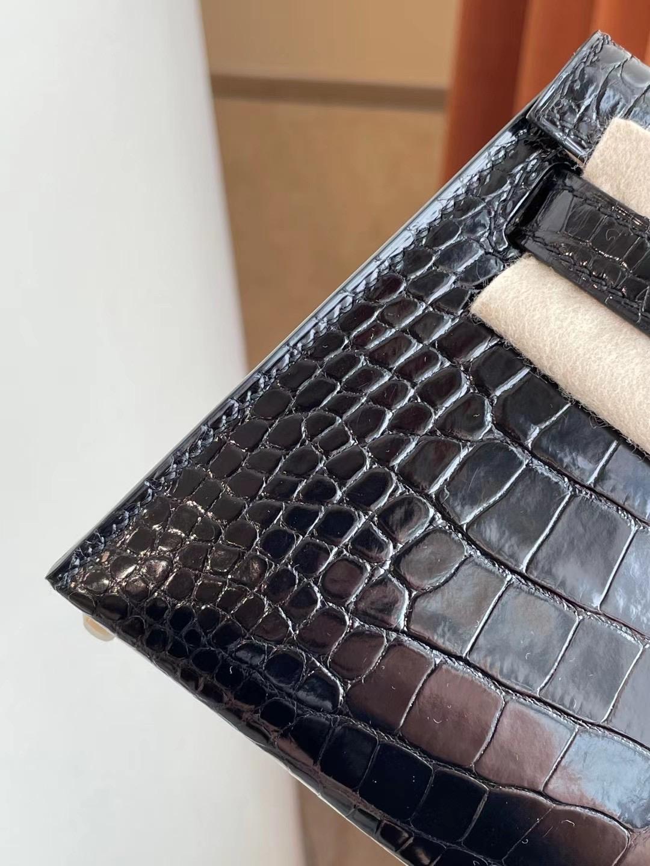 臺灣桃園市桃園區 Hermes Kelly mini II CC89 Noir 黑色 亮面美洲鱷魚金扣