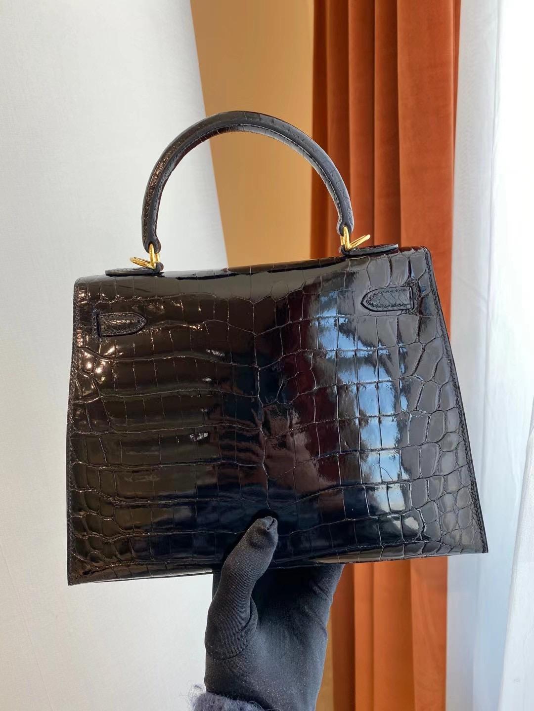 臺灣臺中市北屯區 Hermes Kelly 25cm CC89 Noir 黑色 亮面兩點 尼羅鱷魚