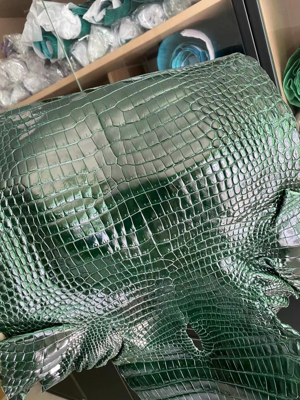 愛馬仕 Hermes leather 67 Vert Fonce 祖母綠 亮面灣鱷 Hcp鱷魚皮