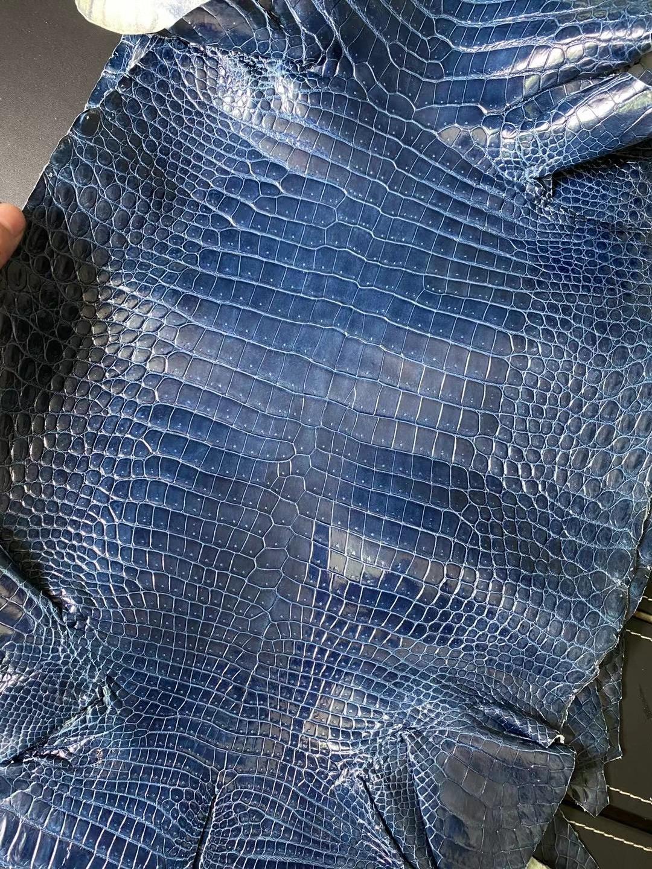 香港北區文錦渡 愛馬仕 Hermes 74 皇室藍 blue Roy 亮面灣鱷 Hcp鱷魚皮