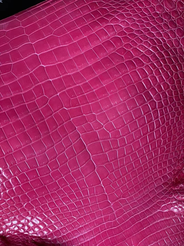愛馬仕 Hermes 新到皮 5J Fuschia Pink 桃粉色 亮面灣鱷 Hcp鱷魚皮