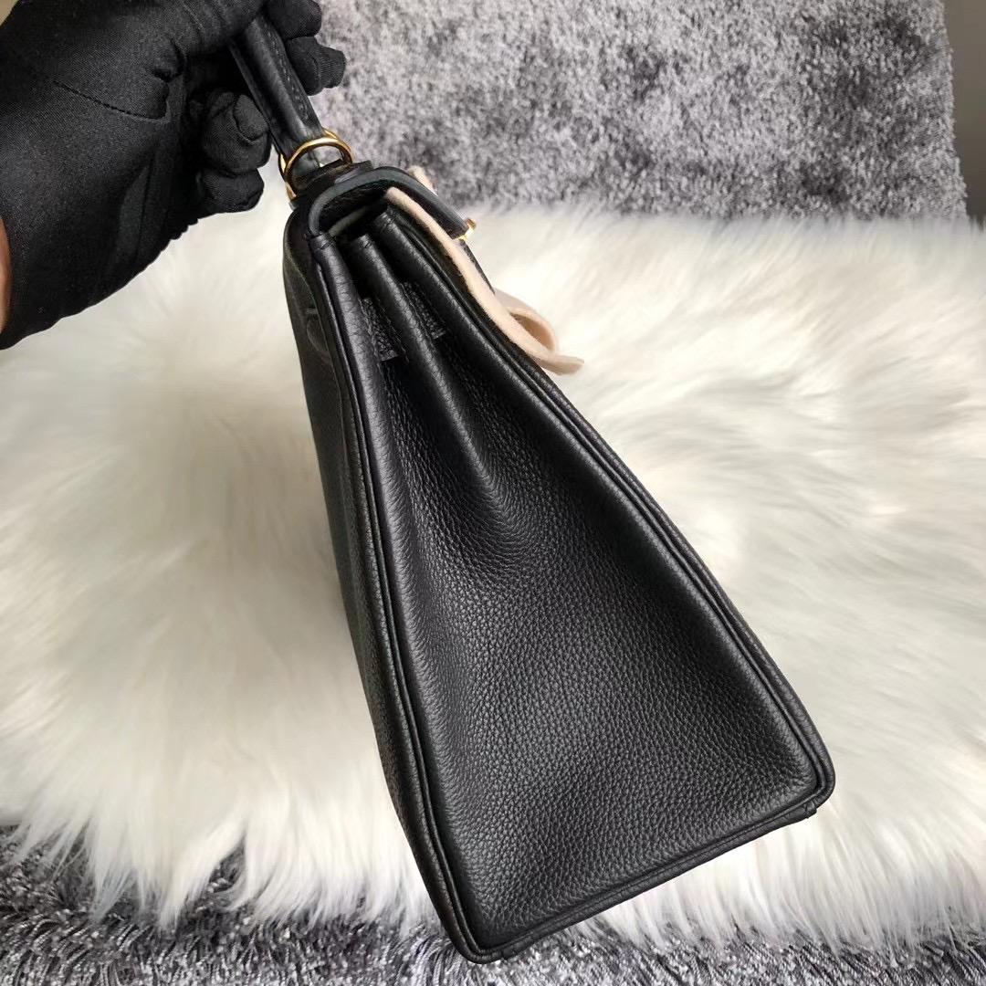 愛馬仕凱莉包價格 Hermes Kelly 28cm CK89 Noir 黑色 Togo 全手工蜜蠟線縫製